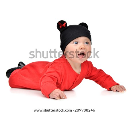 Five month Infant child baby girl in red body mouse cloth lying happy smiling on a white background - stock photo