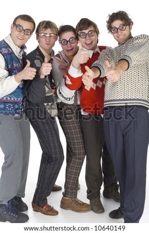Five nerdy guys in funny glasses, smiling and looking at camera with raised thumbs. Front view, white background. Whole body - stock photo