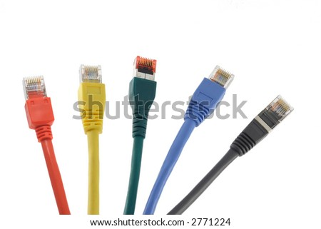 Five network cables in different colors arranged like a fan - stock photo