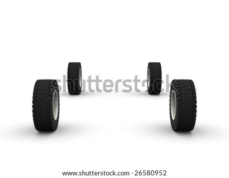 Five new off-road car wheels isolated on the white background. Front view - stock photo