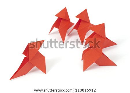 Five origami birds on white background. Concept of conversation/leadership/management/teamwork - stock photo
