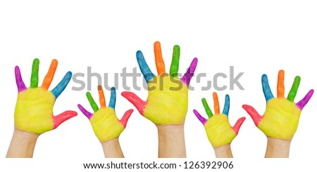Five painted kids hands up. Group of children in classroom.  Or sale, discount or sell-off concept. Shoppers wants something more. For your text, logo, letters or symbols. Isolated on white background - stock photo