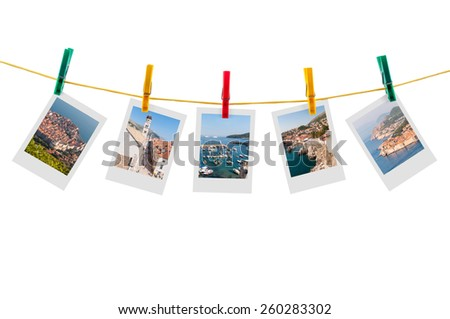 Five photos of Dubrovnik on clothesline isolated on white background with clipping path