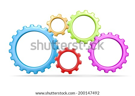 Five Plastic Colorful Gears Engaged 3D Illustration Isolated on White Background - stock photo