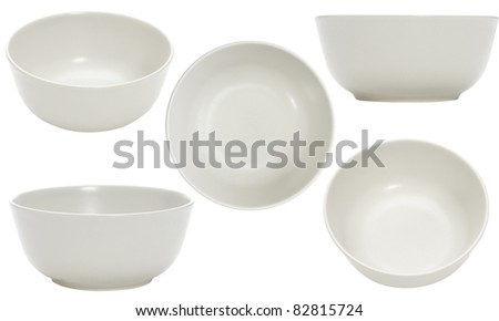 five point of view of empty bowl on white background