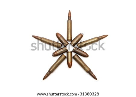 Five-pointed star of M16 and Parabellum cartridges isolated - stock photo