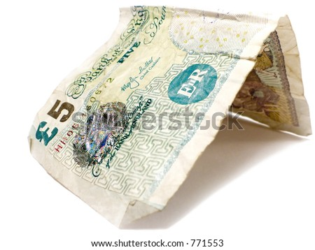 Five Pounds Sterling - stock photo