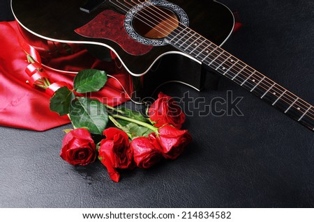 Five Red Roses Guitar Drapery On Stock Photo Image Royalty Free
