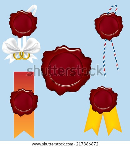 five red seals whit ribbons