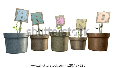 Five regular clay flowerpots each with greenery sprouting and a wooden sign spelling out the word brand on an isolated background