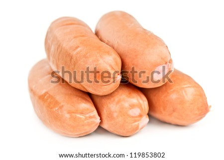 five sausages isolated on white background