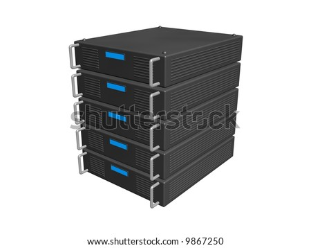 five servers stacked together