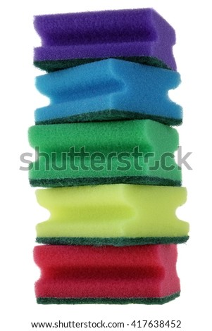 Five Stacked Multicolored Kitchen Sponges Isolated On White Vertical Background, Close Up