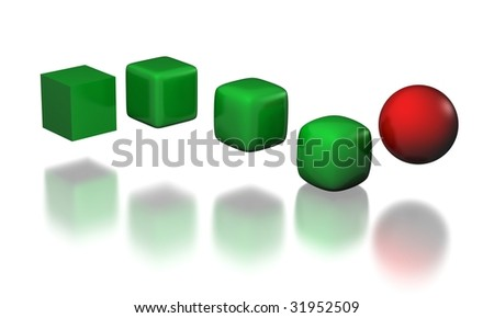 five stages of cube to sphere transformation - stock photo