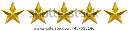 Five star golden review - stock photo