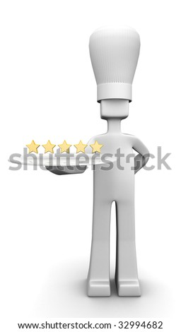 Five star restaurant chef holding a plate with five star 3d illustration - stock photo