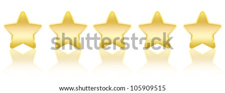 Five Stars - Five Gold stars with reflections arranged horizontally