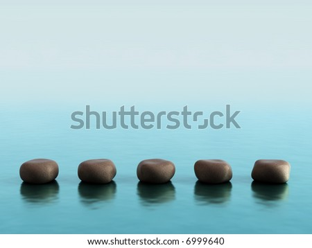 Five stones on blue background