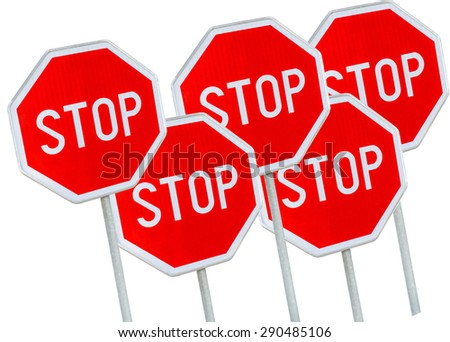 Five stop sign against white background  - stock photo