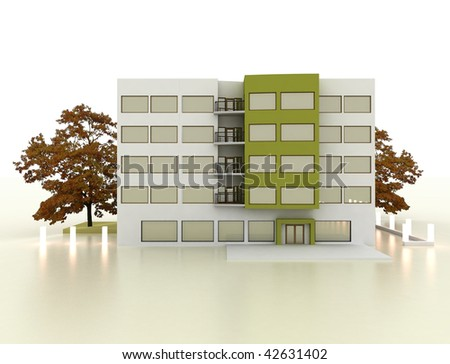 Five storey house exterior facade architecture. White glossy background. - stock photo