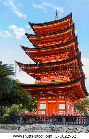Five-storied pagoda at Toyokuni Shrine in Miyajima