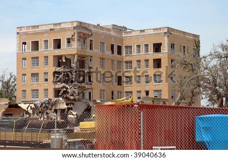 Five story commercial building destroyed by Hurricane Katrina in Biloxi Mississippi - stock photo