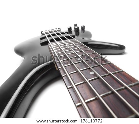 Five string electric bass guitar over white background, for music,entertainment themes