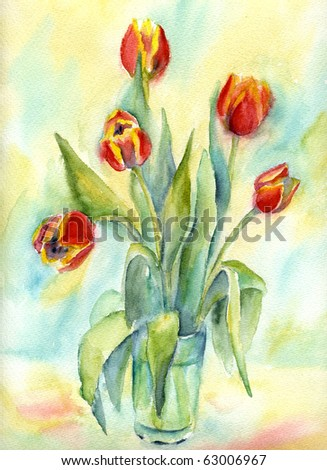 Five tulips in a water glass. Watercolor stilllife.