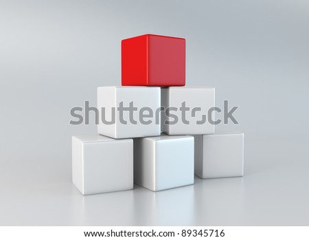 Five white and one red cubes stacked up on gray, reflective background. - stock photo