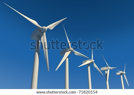 Five wind turbines on blue sky