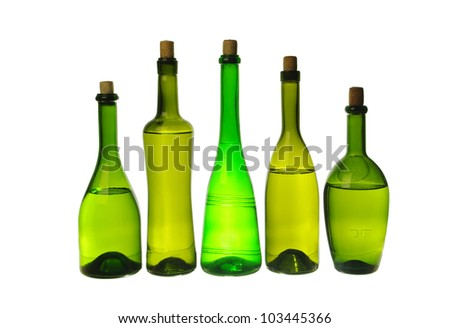Five wine bottles  on white background.