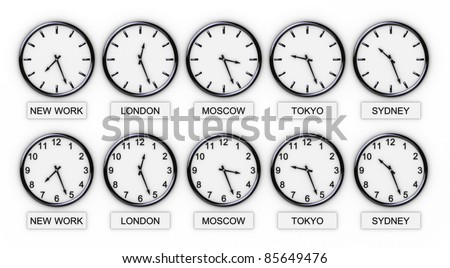 Five World Clocks (World Time) - stock photo
