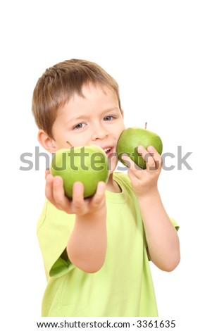 five years boy and green apples isolated on white