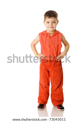 Five years Boy standing isolated on white - stock photo