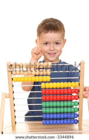 five years old boy with abacus isolated on white - stock photo