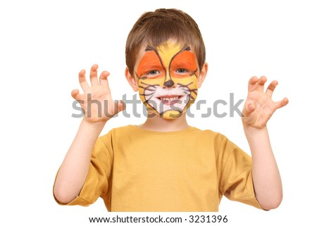 five years old boy with painted face isolated on white