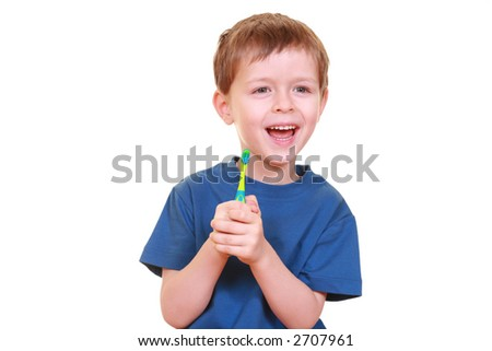 five years old boy with tooth-brush isolated on white - stock photo