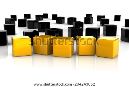 five yellow reflective cubes placed observably in a group of black cubes