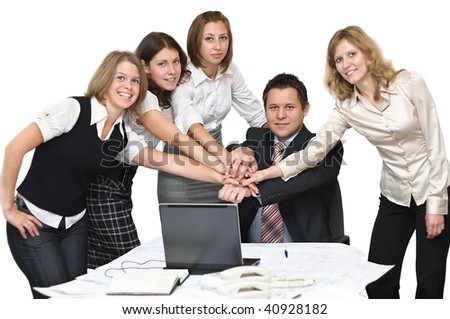 Five young business people in office take hands together. Isolated on white background - stock photo