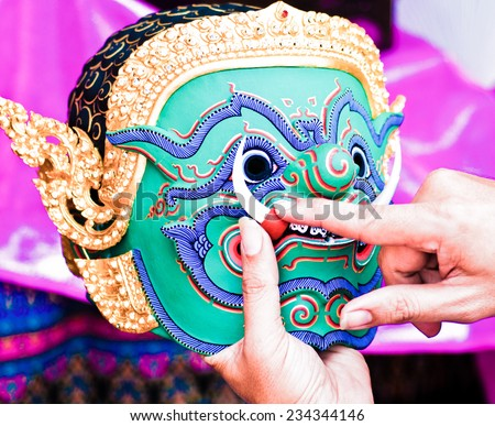 fixing Khon Mask for khon drama - stock photo