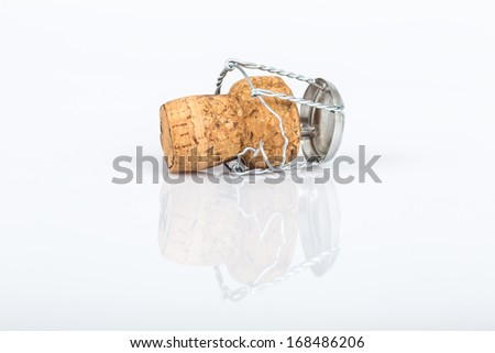 fizzy cork on white with reflection  - stock photo