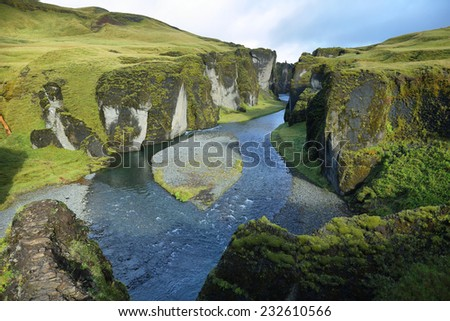 Fjadrargljufur canyon in southeast Iceland - stock photo