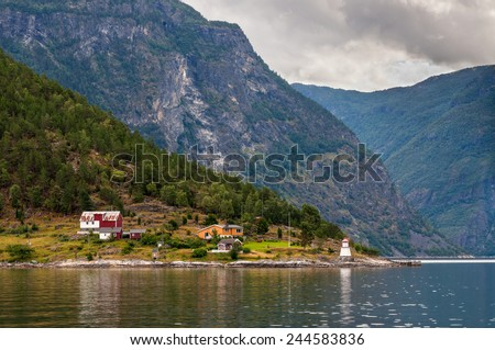 Fjord Cruise - Lighthouse picture, Norway - stock photo