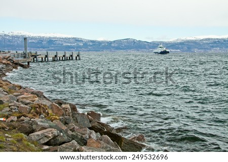 fjord harbor - stock photo