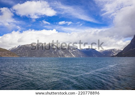 Fjord scene in Norway - stock photo