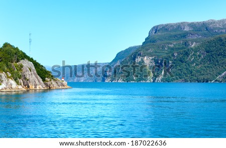Fjord summer hazy view from ferry (Boknafjord, Norway) - stock photo