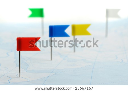 Flag a pin - stock photo