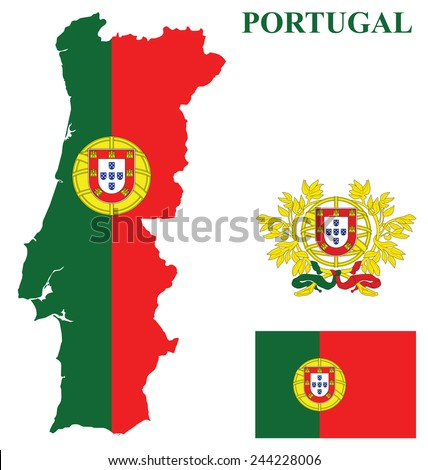 Flag and coat of arms of the Portuguese Republic overlaid on detailed outline country map isolated on white background  - stock photo