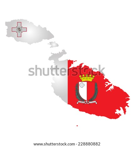 Flag and coat of arms of the Republic of Malta overlaid on outline map isolated on white background  - stock photo