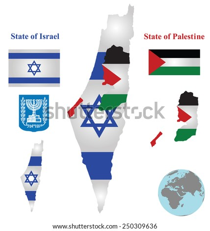 Flag and coat of arms of the State of Israel and the State of Palestine overlaid on detailed outline map isolated on white background  - stock photo